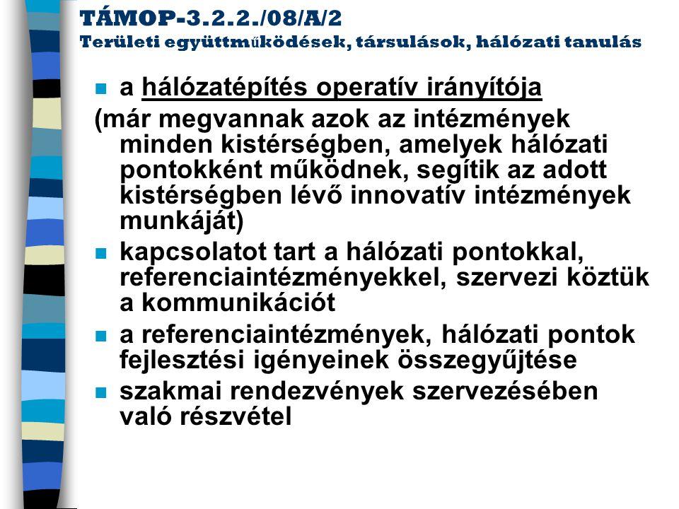 TÁMOP-3.2.2./08/A/2 Területi együttm ű ködések, társulások, hálózati tanulás n információszolgáltatás a régió intézményeinek, fenntartóinak (mint pl.
