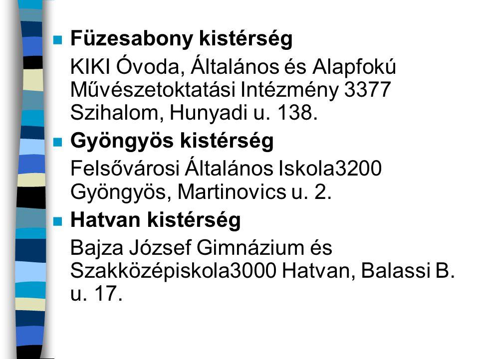 n Hevesi kistérség Eötvös József Középiskola 3360 Heves, Dobó u.