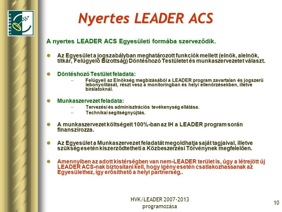 HVK/LEADER 2007-2013 programozása 10 Nyertes LEADER ACS A nyertes LEADER ACS Egyesületi formába szerveződik. Az Egyesület a jogszabályban meghatározot