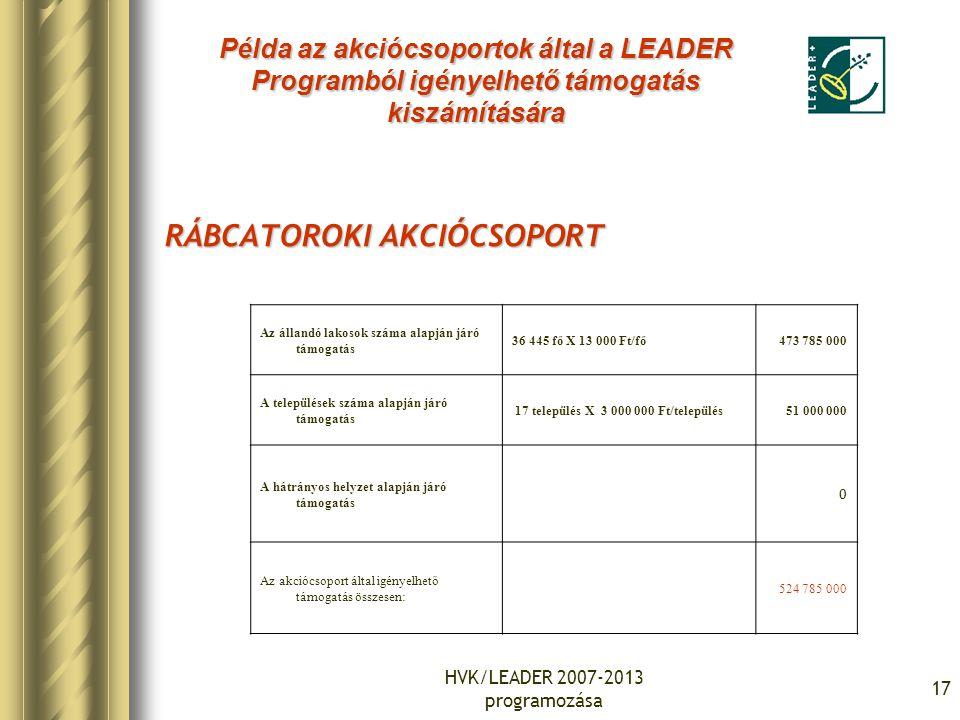 HVK/LEADER 2007-2013 programozása 17 RÁBCATOROKI AKCIÓCSOPORT Az állandó lakosok száma alapján járó támogatás 36 445 fő X 13 000 Ft/fő473 785 000 A települések száma alapján járó támogatás 17 település X 3 000 000 Ft/település51 000 000 A hátrányos helyzet alapján járó támogatás 0 Az akciócsoport által igényelhető támogatás összesen: 524 785 000 Példa az akciócsoportok által a LEADER Programból igényelhető támogatás kiszámítására