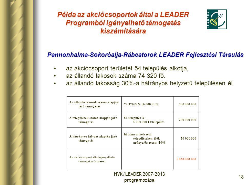 HVK/LEADER 2007-2013 programozása 18 Példa az akciócsoportok által a LEADER Programból igényelhető támogatás kiszámítására Az állandó lakosok száma al