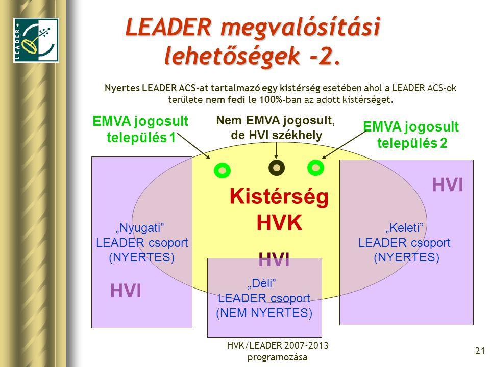 HVK/LEADER 2007-2013 programozása 21 LEADER megvalósítási lehetőségek -2. Kistérség HVK EMVA jogosult település 1 EMVA jogosult település 2 Nem EMVA j