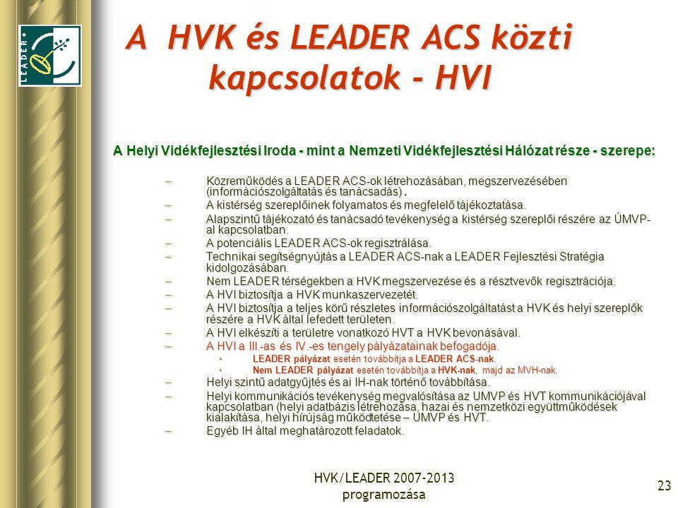 HVK/LEADER 2007-2013 programozása 23 A HVK és LEADER ACS közti kapcsolatok - HVI A Helyi Vidékfejlesztési Iroda - mint a Nemzeti Vidékfejlesztési Háló