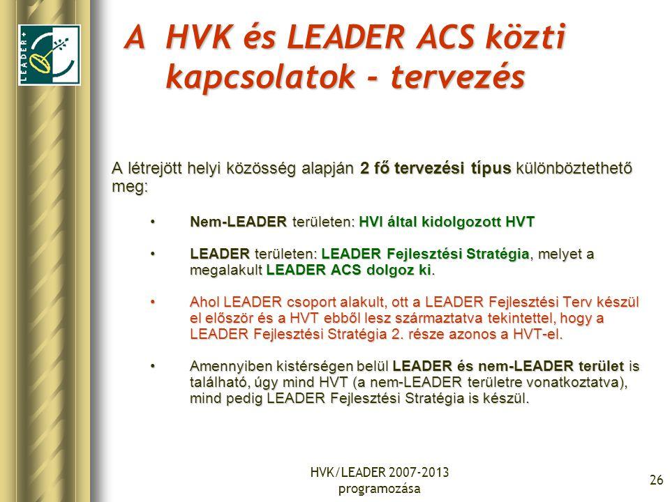 HVK/LEADER 2007-2013 programozása 26 A HVK és LEADER ACS közti kapcsolatok - tervezés A létrejött helyi közösség alapján 2 fő tervezési típus különböztethető meg: Nem-LEADER területen: HVI által kidolgozott HVTNem-LEADER területen: HVI által kidolgozott HVT LEADER területen: LEADER Fejlesztési Stratégia, melyet a megalakult LEADER ACS dolgoz ki.LEADER területen: LEADER Fejlesztési Stratégia, melyet a megalakult LEADER ACS dolgoz ki.