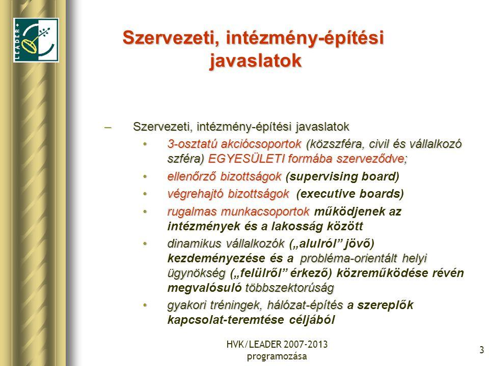 """HVK/LEADER 2007-2013 programozása 3 Szervezeti, intézmény-építési javaslatok –Szervezeti, intézmény-építési javaslatok 3-osztatú akciócsoportok (közszféra, civil és vállalkozó szféra) EGYESÜLETI formába szerveződve;3-osztatú akciócsoportok (közszféra, civil és vállalkozó szféra) EGYESÜLETI formába szerveződve; ellenőrző bizottságokellenőrző bizottságok (supervising board) végrehajtó bizottságokvégrehajtó bizottságok (executive boards) rugalmas munkacsoportokrugalmas munkacsoportok működjenek az intézmények és a lakosság között dinamikus vállalkozók probléma-orientált helyi ügynökség többszektorúságdinamikus vállalkozók (""""alulról jövő) kezdeményezése és a probléma-orientált helyi ügynökség (""""felülről érkező) közreműködése révén megvalósuló többszektorúság gyakori tréningek, hálózat-építésgyakori tréningek, hálózat-építés a szereplők kapcsolat-teremtése céljából"""