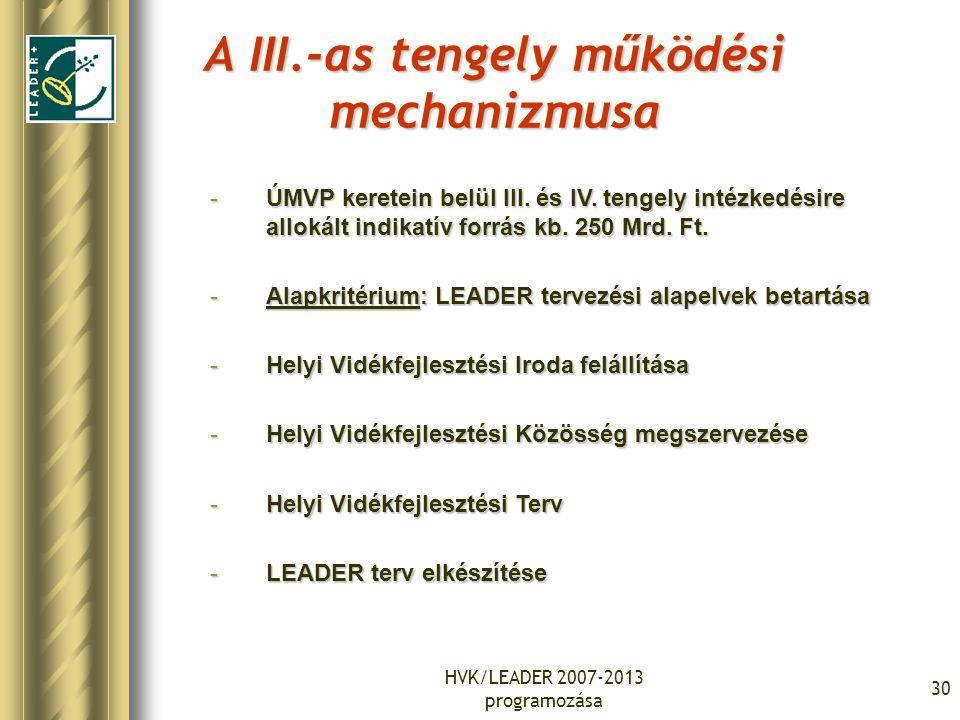 HVK/LEADER 2007-2013 programozása 31 A III-IV-es tengely megvalósításának folyamata Az UMVP III-as és IV-es tengelyének végrehajtása 2 csoportra bontható: 1.Szükséges humán és infrastrukturális feltételek megteremtése: 1.Képzés, szakmai háttér megteremtése.