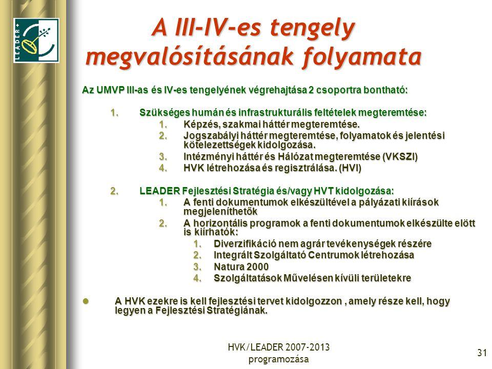 HVK/LEADER 2007-2013 programozása 31 A III-IV-es tengely megvalósításának folyamata Az UMVP III-as és IV-es tengelyének végrehajtása 2 csoportra bonth