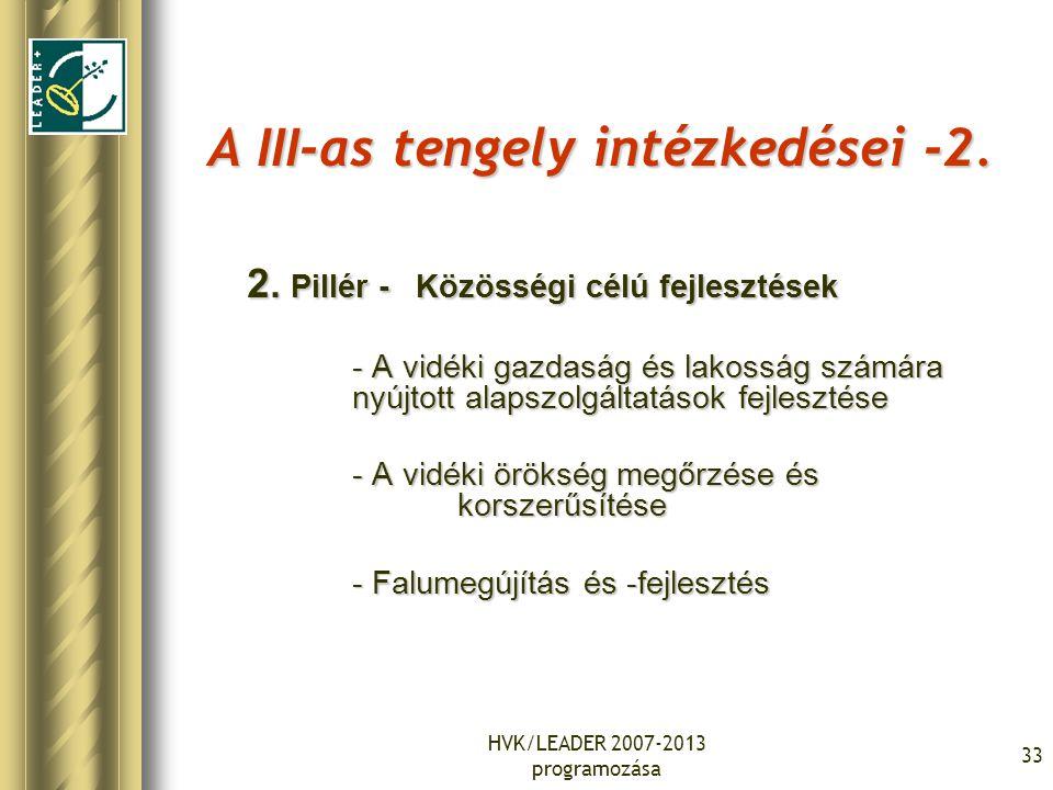 HVK/LEADER 2007-2013 programozása 33 A III-as tengely intézkedései -2. 2. Pillér - Közösségi célú fejlesztések - A vidéki gazdaság és lakosság számára