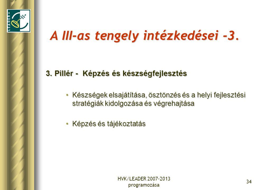 HVK/LEADER 2007-2013 programozása 34 A III-as tengely intézkedései -3. 3. Pillér - Képzés és készségfejlesztés Készségek elsajátítása, ösztönzés és a