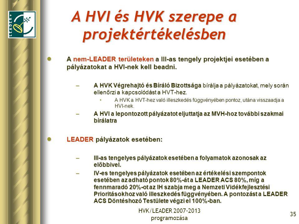 HVK/LEADER 2007-2013 programozása 35 A HVI és HVK szerepe a projektértékelésben A nem-LEADER területeken a III-as tengely projektjei esetében a pályázatokat a HVI-nek kell beadni.