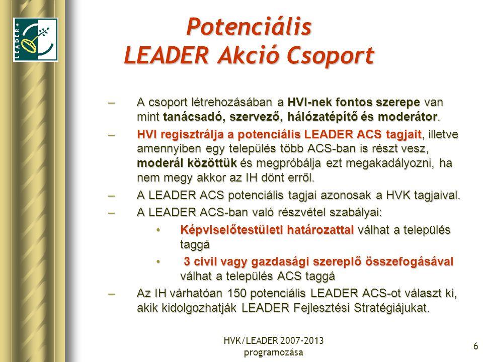 HVK/LEADER 2007-2013 programozása 6 Potenciális LEADER Akció Csoport –A csoport létrehozásában a HVI-nek fontos szerepe van mint tanácsadó, szervező,