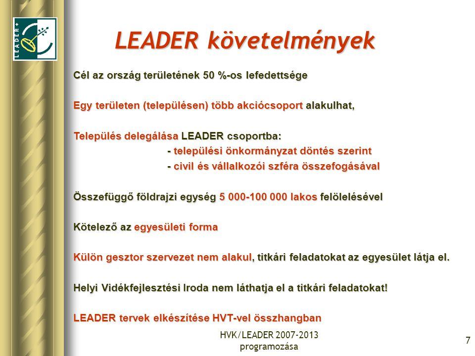 HVK/LEADER 2007-2013 programozása 7 LEADER követelmények Cél az ország területének 50 %-os lefedettsége Egy területen (településen) több akciócsoport