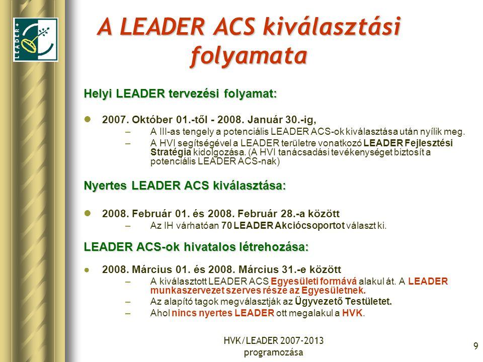 HVK/LEADER 2007-2013 programozása 9 A LEADER ACS kiválasztási folyamata Helyi LEADER tervezési folyamat: 2007. Október 01.-től - 2008. Január 30.-ig,
