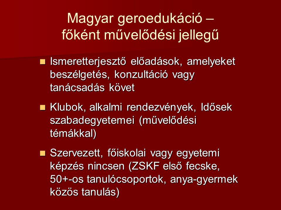 Magyar geroedukáció – főként művelődési jellegű Ismeretterjesztő előadások, amelyeket beszélgetés, konzultáció vagy tanácsadás követ Ismeretterjesztő előadások, amelyeket beszélgetés, konzultáció vagy tanácsadás követ Klubok, alkalmi rendezvények, Idősek szabadegyetemei (művelődési témákkal) Klubok, alkalmi rendezvények, Idősek szabadegyetemei (művelődési témákkal) Szervezett, főiskolai vagy egyetemi képzés nincsen (ZSKF első fecske, 50+-os tanulócsoportok, anya-gyermek közös tanulás) Szervezett, főiskolai vagy egyetemi képzés nincsen (ZSKF első fecske, 50+-os tanulócsoportok, anya-gyermek közös tanulás)