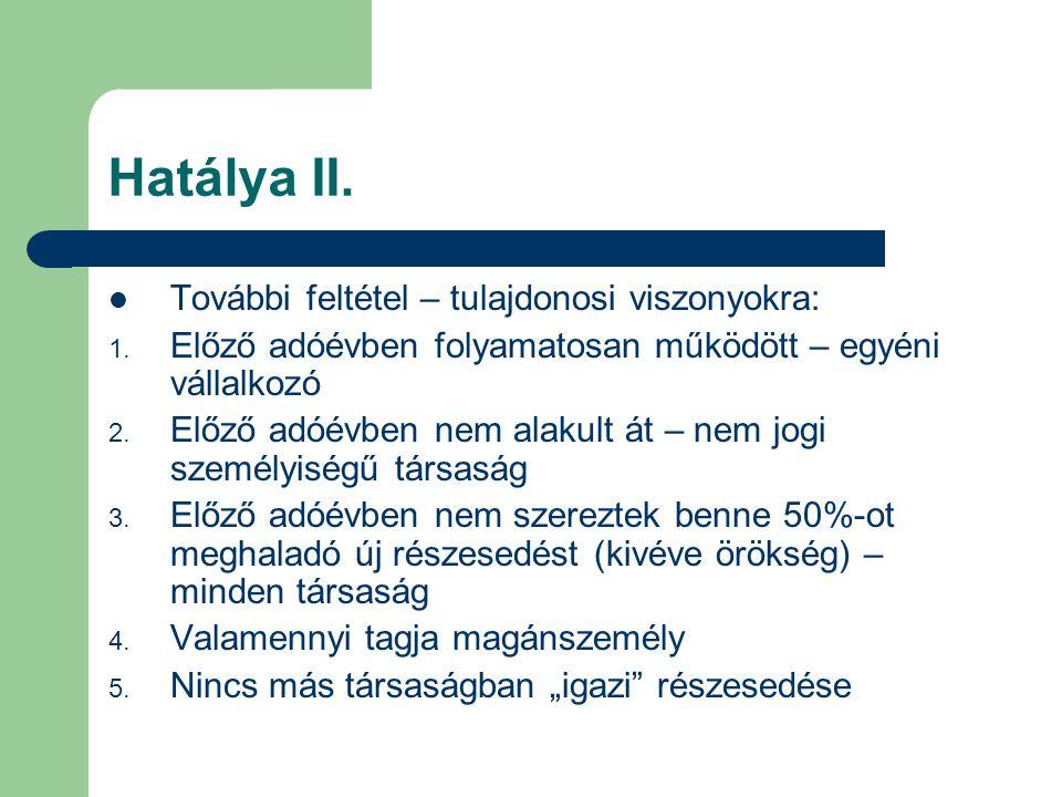 Hatálya II. További feltétel – tulajdonosi viszonyokra: 1. Előző adóévben folyamatosan működött – egyéni vállalkozó 2. Előző adóévben nem alakult át –