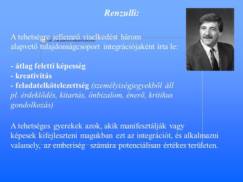 Renzulli: A tehetségre jellemző viselkedést három alapvető tulajdonságcsoport integrációjaként írta le: - átlag feletti képesség - kreativitás - feladatelkötelezettség (személyiségjegyekből áll pl.