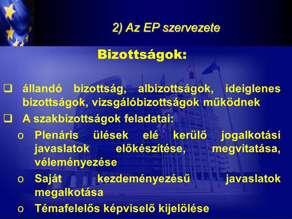 2) Az EP szervezete Bizottságok:  állandó bizottság, albizottságok, ideiglenes bizottságok, vizsgálóbizottságok működnek  A szakbizottságok feladata