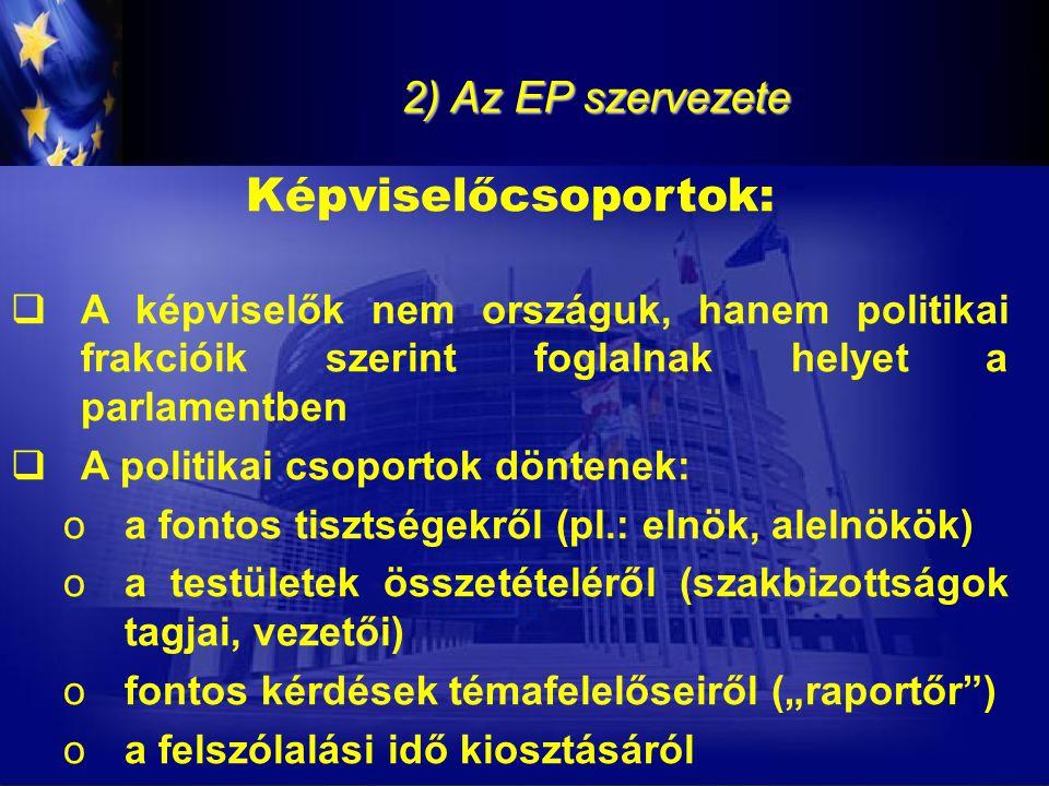 2) Az EP szervezete Képviselőcsoportok:  A képviselők nem országuk, hanem politikai frakcióik szerint foglalnak helyet a parlamentben  A politikai c