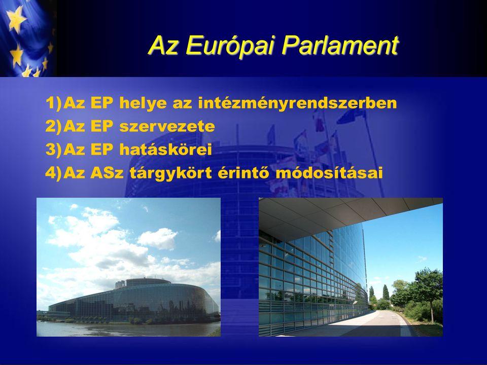 2) Az EP szervezete Bizottságok:  állandó bizottság, albizottságok, ideiglenes bizottságok, vizsgálóbizottságok működnek  A szakbizottságok feladatai: oPlenáris ülések elé kerülő jogalkotási javaslatok előkészítése, megvitatása, véleményezése oSaját kezdeményezésű javaslatok megalkotása oTémafelelős képviselő kijelölése