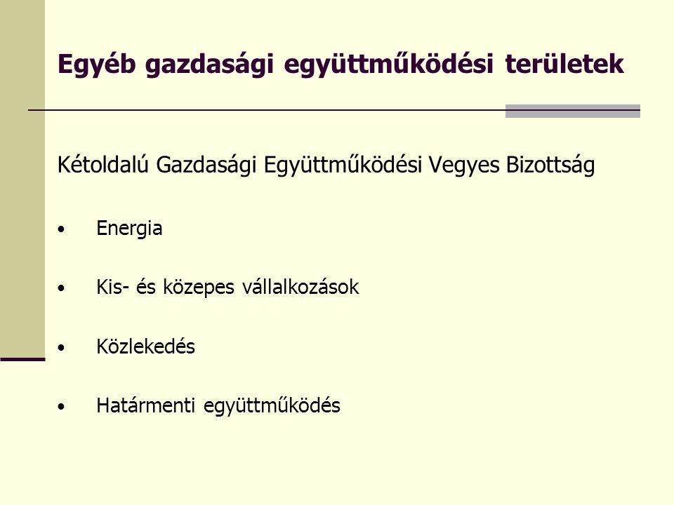 Egyéb gazdasági együttműködési területek Kétoldalú Gazdasági Együttműködési Vegyes Bizottság Energia Kis- és közepes vállalkozások Közlekedés Határmenti együttműködés