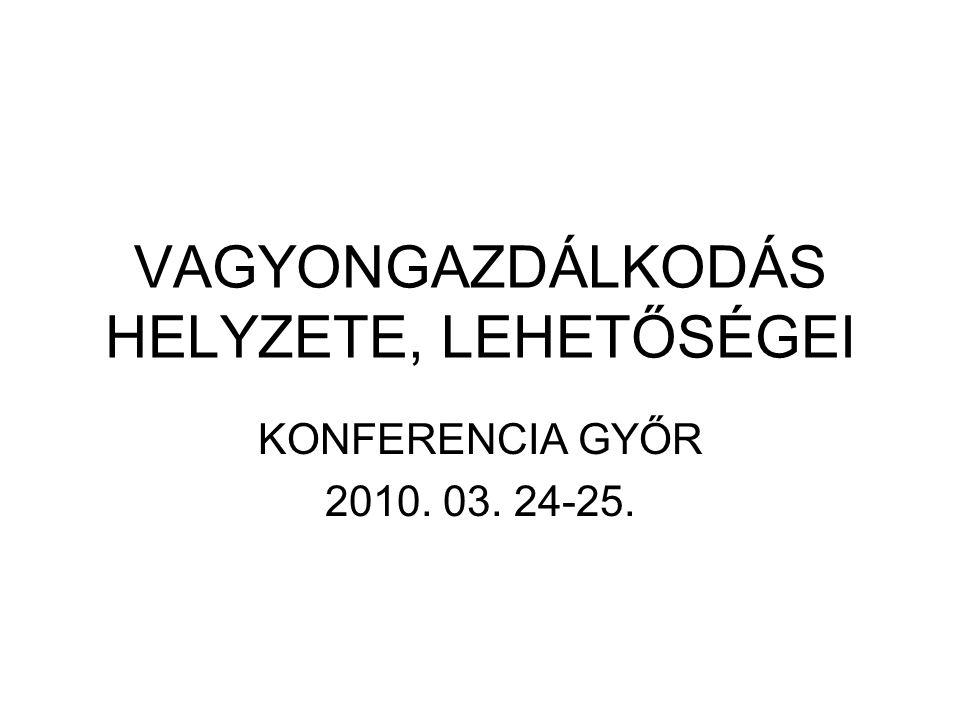 VAGYONGAZDÁLKODÁS HELYZETE, LEHETŐSÉGEI KONFERENCIA GYŐR 2010. 03. 24-25.