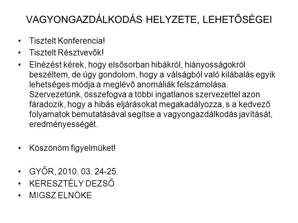 VAGYONGAZDÁLKODÁS HELYZETE, LEHETŐSÉGEI Tisztelt Konferencia.