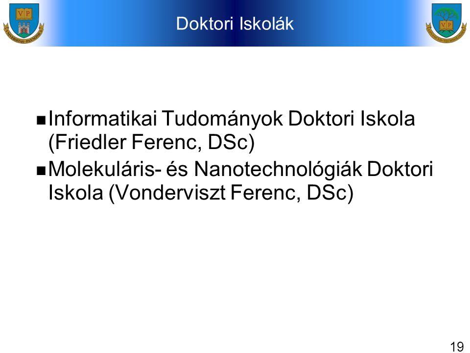 19 Doktori Iskolák Informatikai Tudományok Doktori Iskola (Friedler Ferenc, DSc) Molekuláris- és Nanotechnológiák Doktori Iskola (Vonderviszt Ferenc,
