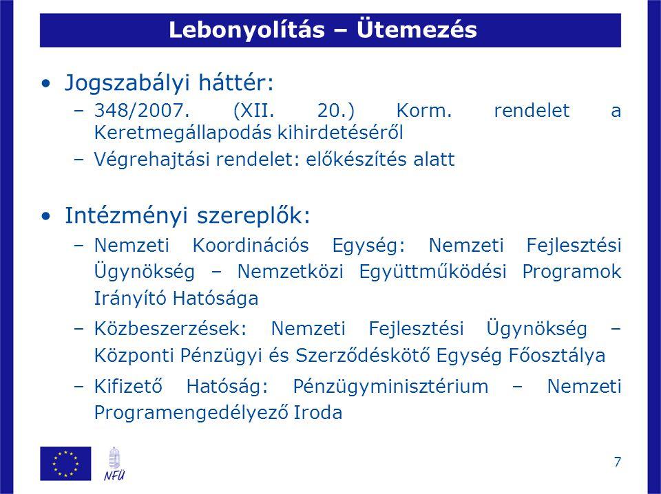 7 Lebonyolítás – Ütemezés Jogszabályi háttér: –348/2007.
