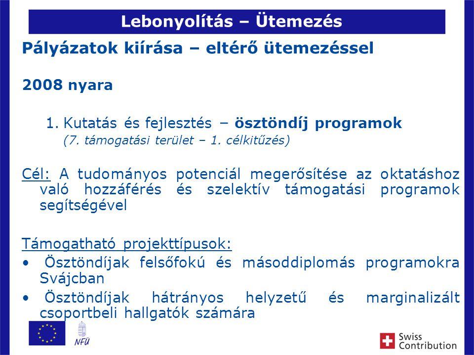 8 Lebonyolítás – Ütemezés Pályázatok kiírása – eltérő ütemezéssel 2008 nyara 1.Kutatás és fejlesztés – ösztöndíj programok (7.