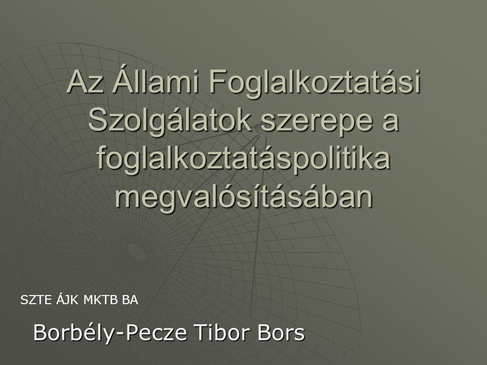 Az Állami Foglalkoztatási Szolgálatok szerepe a foglalkoztatáspolitika megvalósításában Borbély-Pecze Tibor Bors SZTE ÁJK MKTB BA