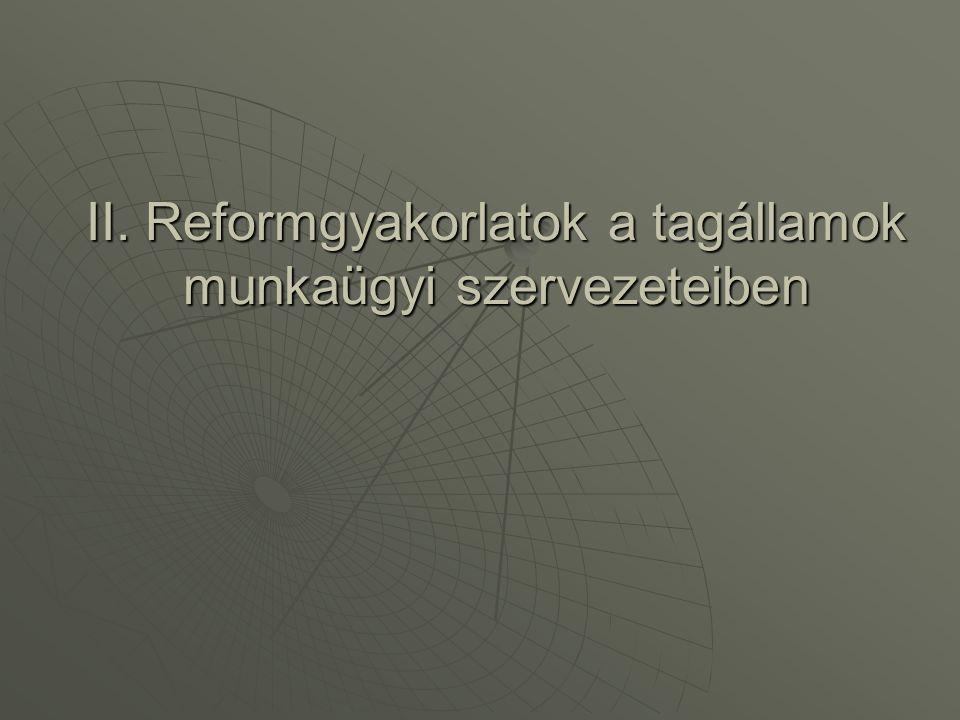 II. Reformgyakorlatok a tagállamok munkaügyi szervezeteiben