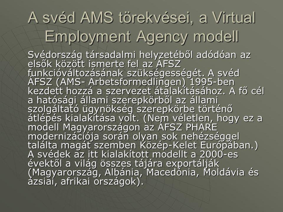 A svéd AMS törekvései, a Virtual Employment Agency modell Svédország társadalmi helyzetéből adódóan az elsők között ismerte fel az ÁFSZ funkcióváltozásának szükségességét.
