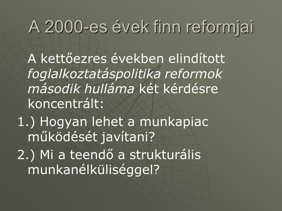 A 2000-es évek finn reformjai A kettőezres években elindított foglalkoztatáspolitika reformok második hulláma két kérdésre koncentrált: 1.) Hogyan leh