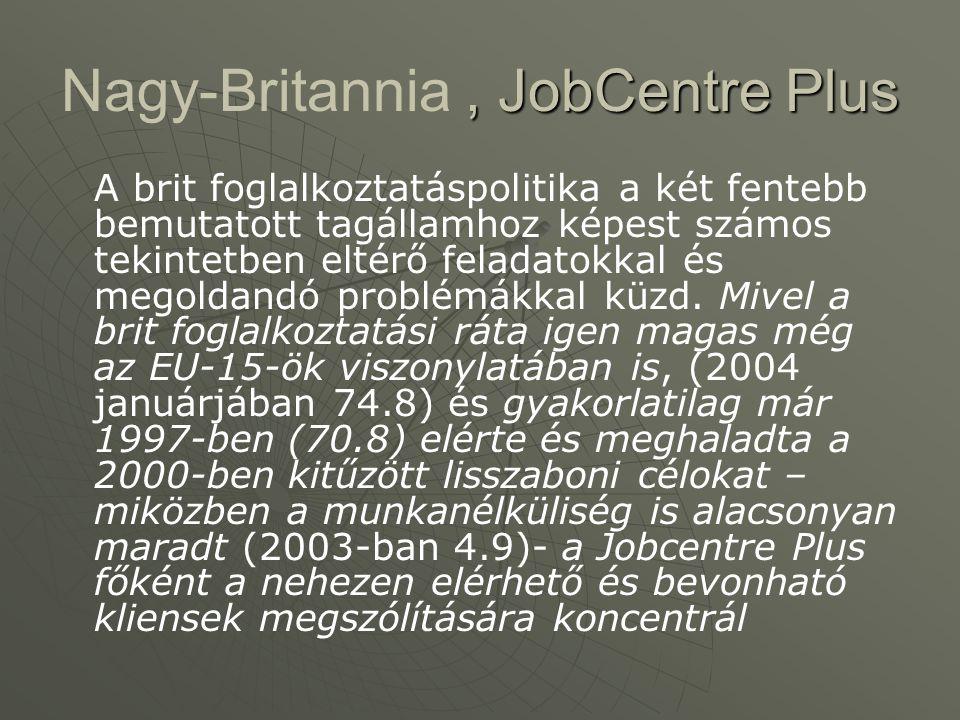 , JobCentre Plus Nagy-Britannia, JobCentre Plus A brit foglalkoztatáspolitika a két fentebb bemutatott tagállamhoz képest számos tekintetben eltérő feladatokkal és megoldandó problémákkal küzd.