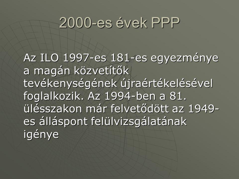 2000-es évek PPP Az ILO 1997-es 181-es egyezménye a magán közvetítők tevékenységének újraértékelésével foglalkozik. Az 1994-ben a 81. ülésszakon már f