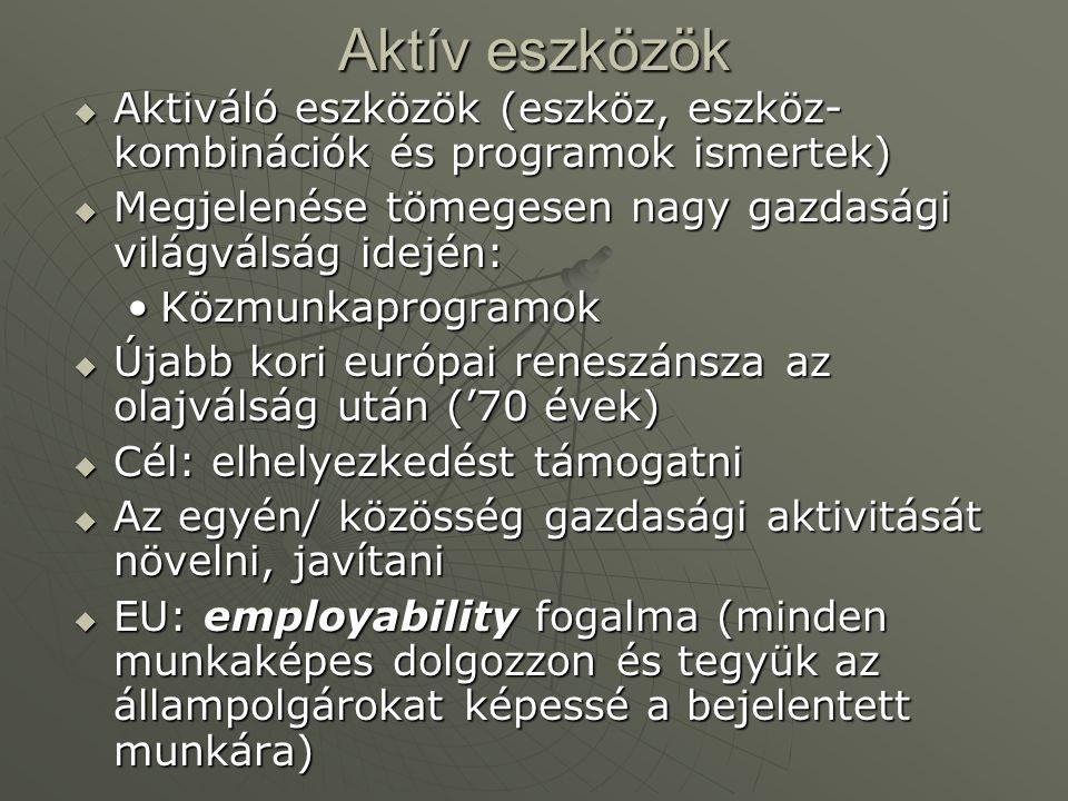Aktív eszközök  Aktiváló eszközök (eszköz, eszköz- kombinációk és programok ismertek)  Megjelenése tömegesen nagy gazdasági világválság idején: KözmunkaprogramokKözmunkaprogramok  Újabb kori európai reneszánsza az olajválság után ('70 évek)  Cél: elhelyezkedést támogatni  Az egyén/ közösség gazdasági aktivitását növelni, javítani  EU: employability fogalma (minden munkaképes dolgozzon és tegyük az állampolgárokat képessé a bejelentett munkára)