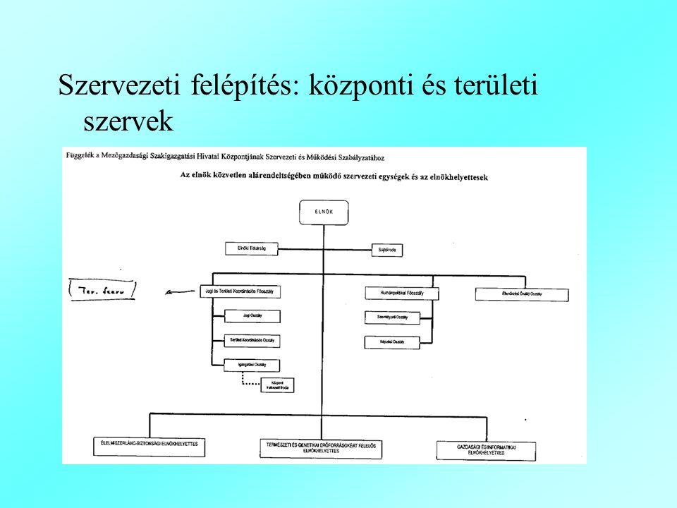 Szervezeti felépítés: központi és területi szervek