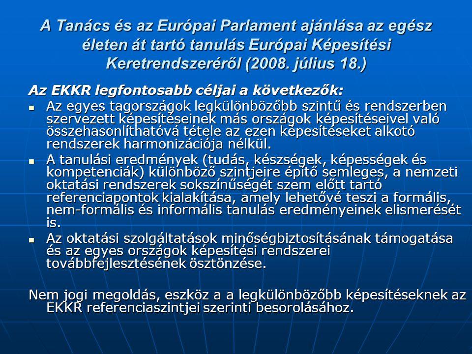 A Tanács és az Európai Parlament ajánlása az egész életen át tartó tanulás Európai Képesítési Keretrendszeréről (2008. július 18.) Az EKKR legfontosab