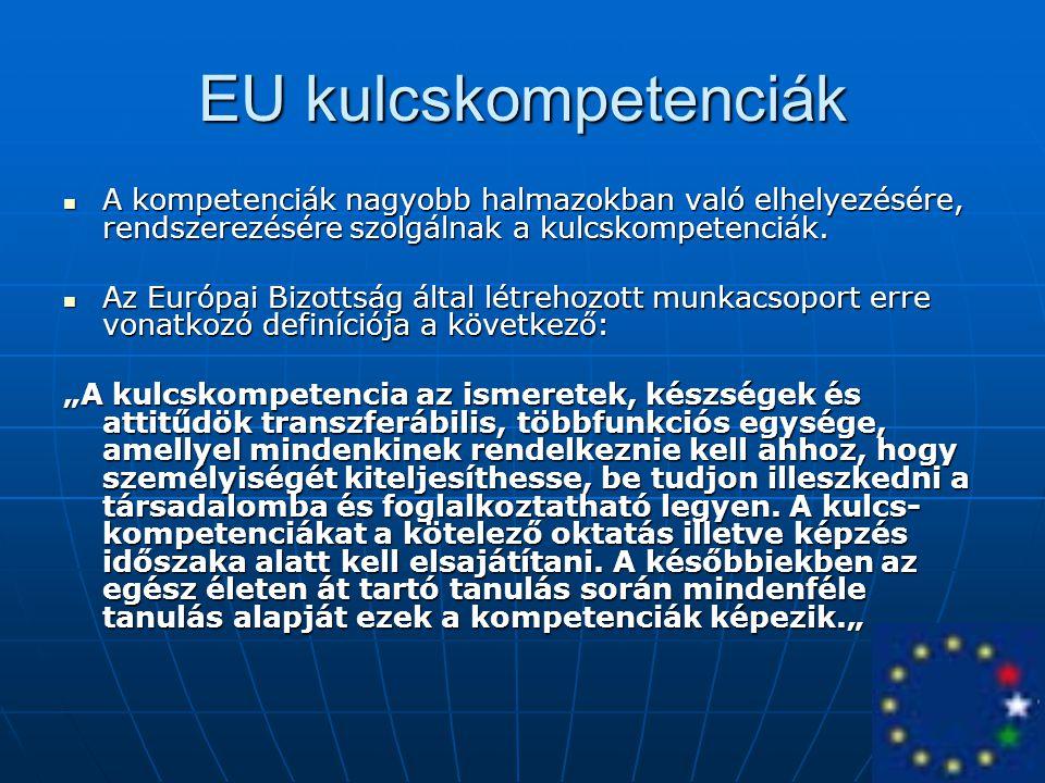 EU kulcskompetenciák A kompetenciák nagyobb halmazokban való elhelyezésére, rendszerezésére szolgálnak a kulcskompetenciák. A kompetenciák nagyobb hal