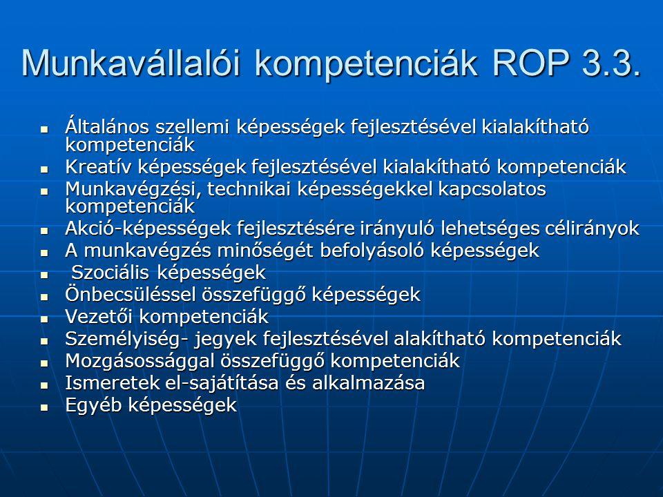 Munkavállalói kompetenciák ROP 3.3. Általános szellemi képességek fejlesztésével kialakítható kompetenciák Általános szellemi képességek fejlesztéséve