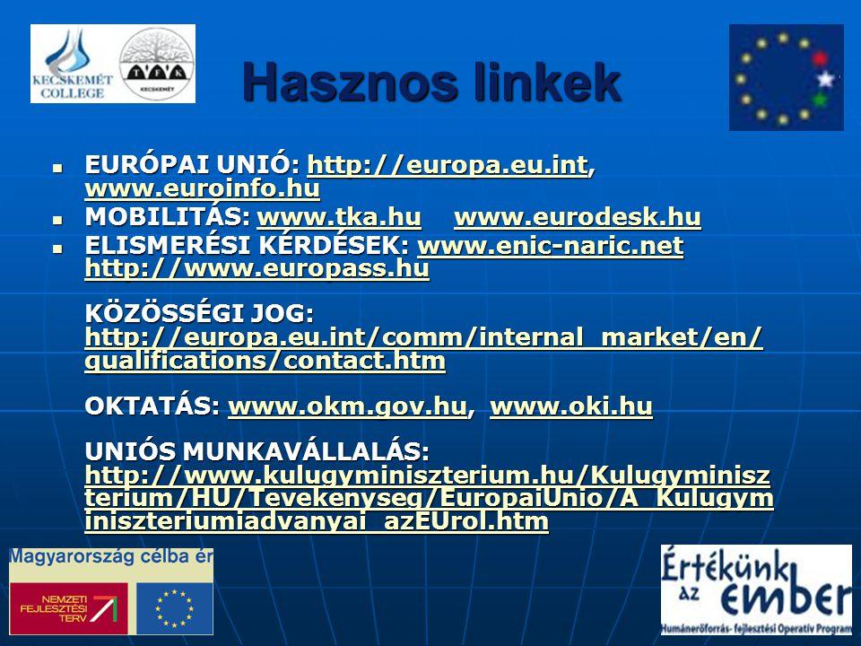 Hasznos linkek EURÓPAI UNIÓ: http://europa.eu.int, www.euroinfo.hu EURÓPAI UNIÓ: http://europa.eu.int, www.euroinfo.huhttp://europa.eu.int www.euroinf