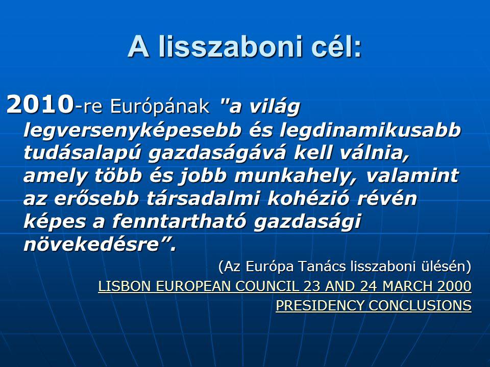 A lisszaboni cél: 2010 -re Európának