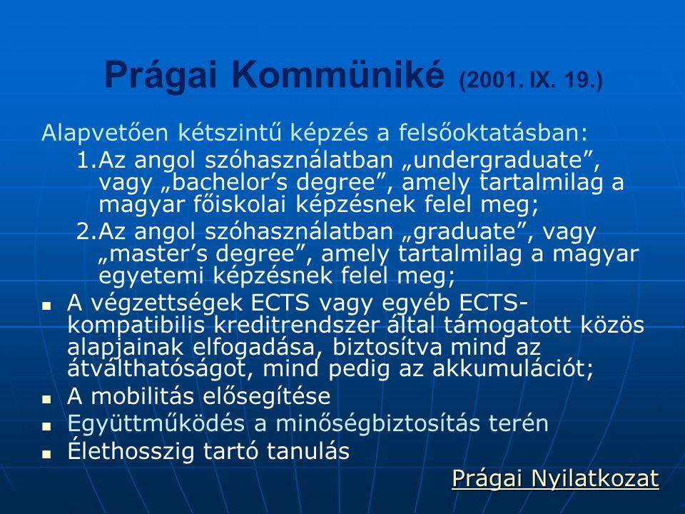 """Prágai Kommüniké (2001. IX. 19.) Alapvetően kétszintű képzés a felsőoktatásban: 1. 1.Az angol szóhasználatban """"undergraduate"""", vagy """"bachelor's degree"""