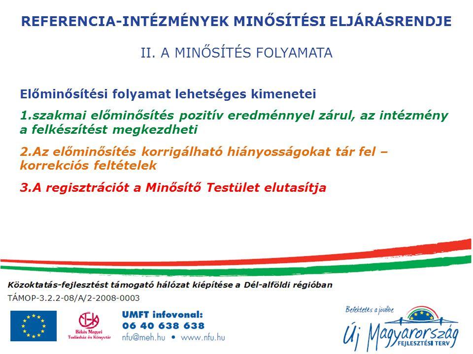REFERENCIA-INTÉZMÉNYEK MINŐSÍTÉSI ELJÁRÁSRENDJE II.