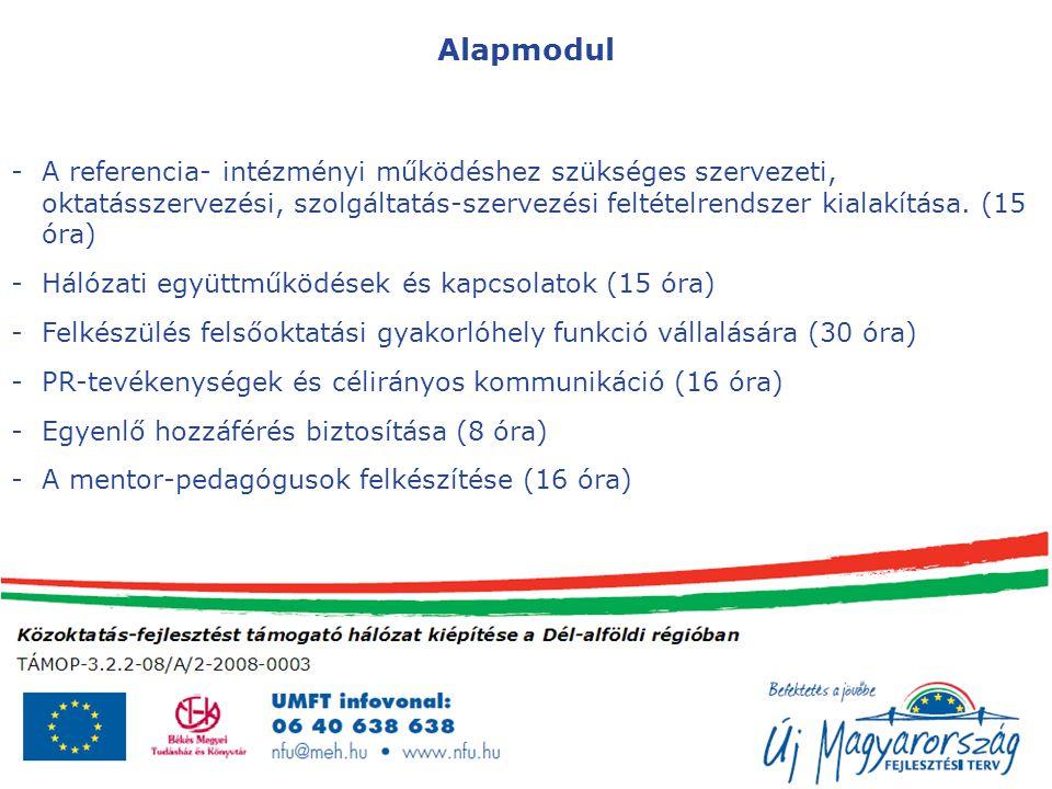 Alapmodul -A referencia- intézményi működéshez szükséges szervezeti, oktatásszervezési, szolgáltatás-szervezési feltételrendszer kialakítása.