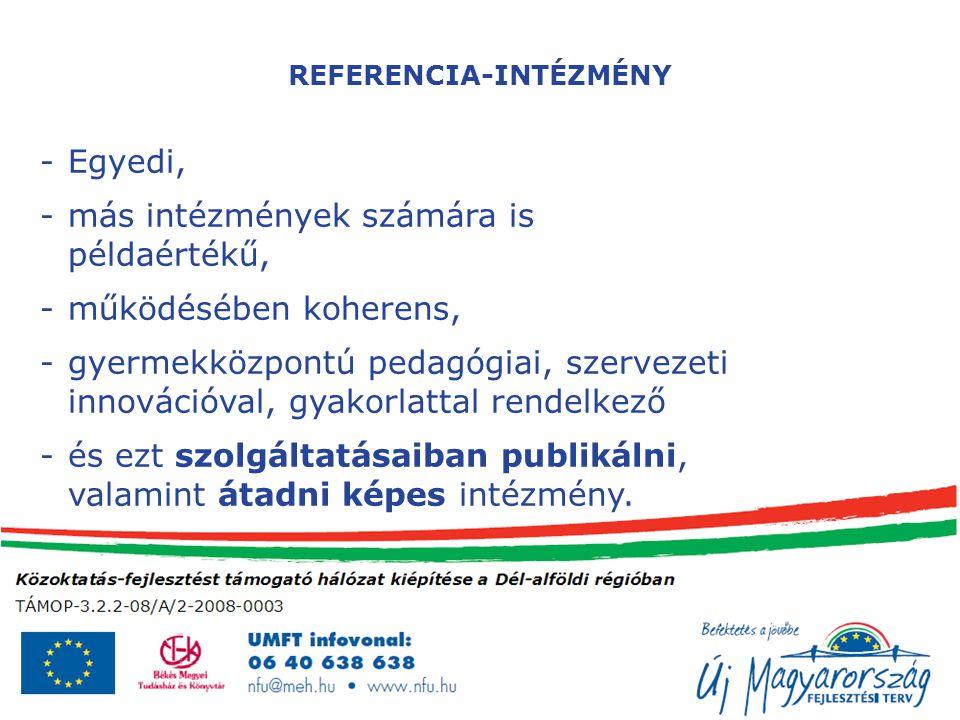 REFERENCIA-INTÉZMÉNY -Egyedi, -más intézmények számára is példaértékű, -működésében koherens, -gyermekközpontú pedagógiai, szervezeti innovációval, gyakorlattal rendelkező -és ezt szolgáltatásaiban publikálni, valamint átadni képes intézmény.