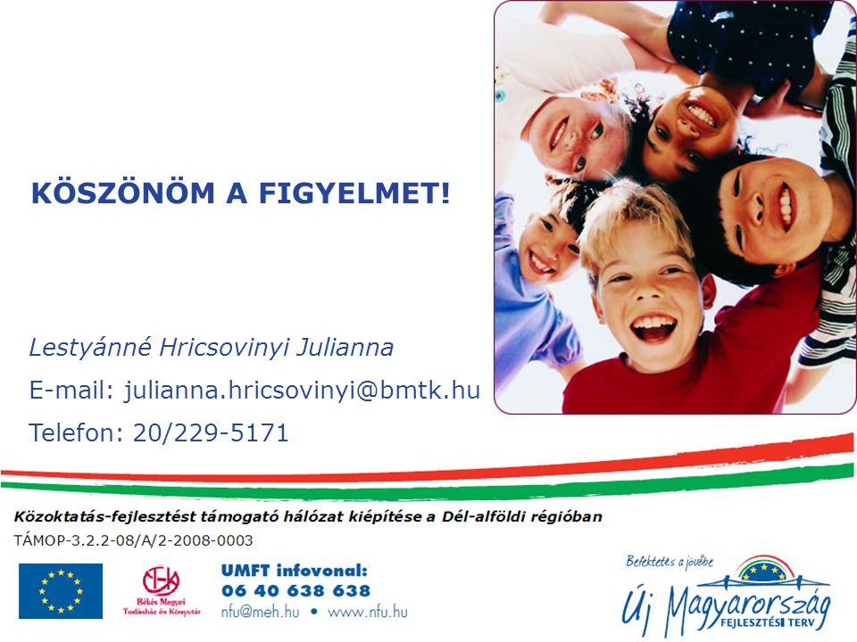 Lestyánné Hricsovinyi Julianna E-mail: julianna.hricsovinyi@bmtk.hu Telefon: 20/229-5171 KÖSZÖNÖM A FIGYELMET!