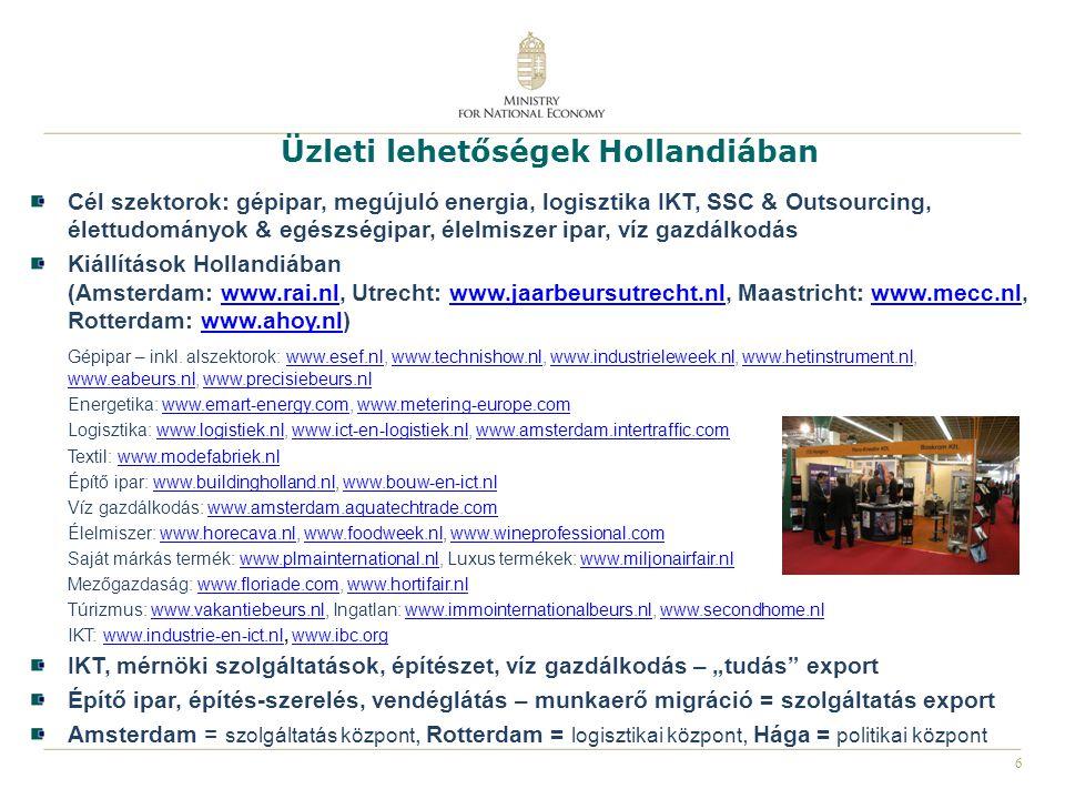 6 Üzleti lehetőségek Hollandiában Cél szektorok: gépipar, megújuló energia, logisztika IKT, SSC & Outsourcing, élettudományok & egészségipar, élelmisz