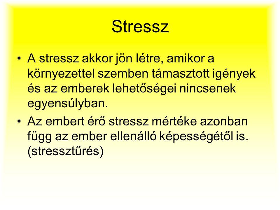 Stressz A stressz akkor jön létre, amikor a környezettel szemben támasztott igények és az emberek lehetőségei nincsenek egyensúlyban. Az embert érő st