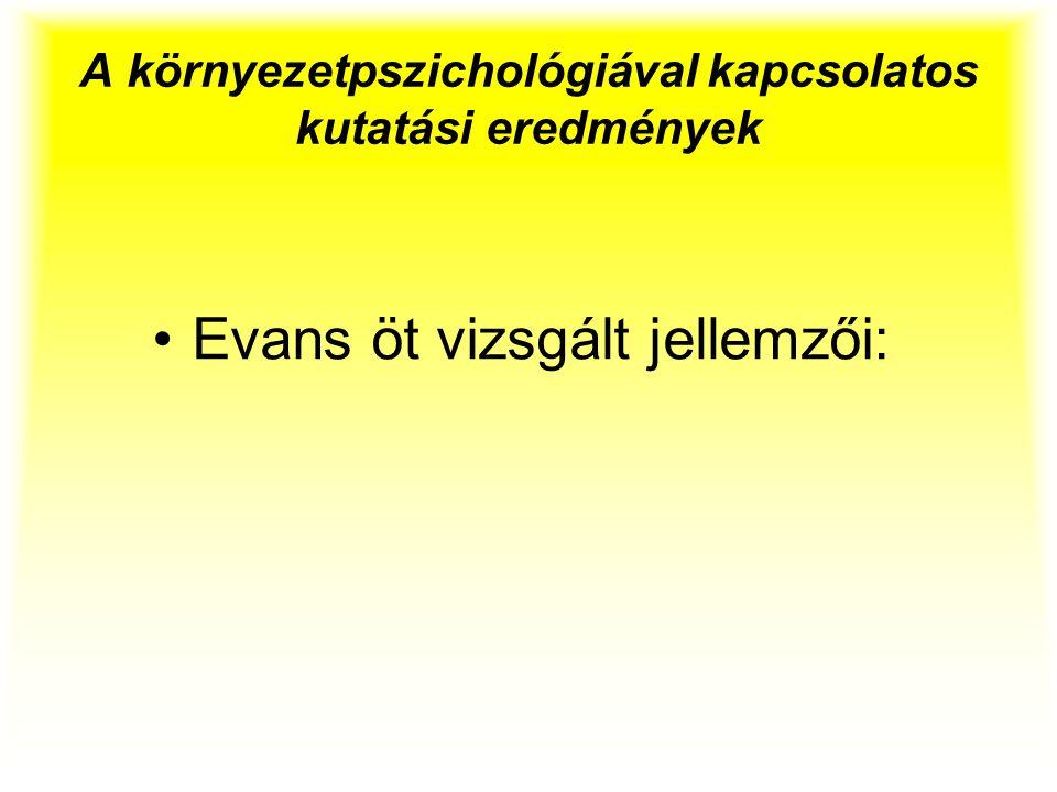 A környezetpszichológiával kapcsolatos kutatási eredmények Evans öt vizsgált jellemzői:
